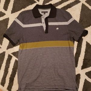 Gray black and olive strip polo